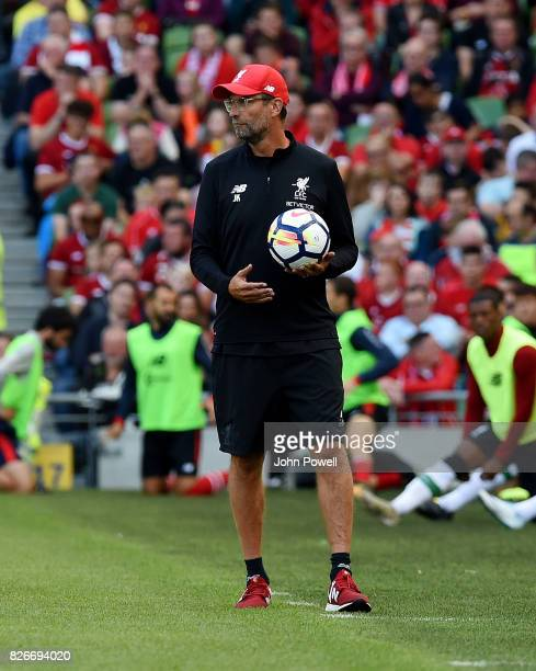 Jurgen Klopp manager of Liverpool during a pre season friendly match between Liverpool and Athletic Bilbao at Aviva Stadium on August 5 2017 in...