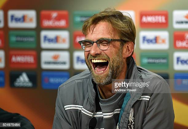 Jurgen Klopp manager of Liverpool during a press conference at Estadio El Madrigal on April 27, 2016 in Villarreal, Spain.