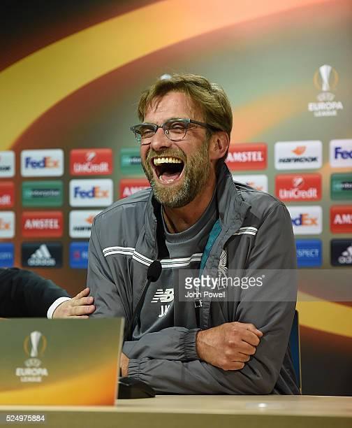 Jurgen Klopp manager of Liverpool during a press conference at Estadio El Madrigal on April 27 2016 in Villarreal Spain