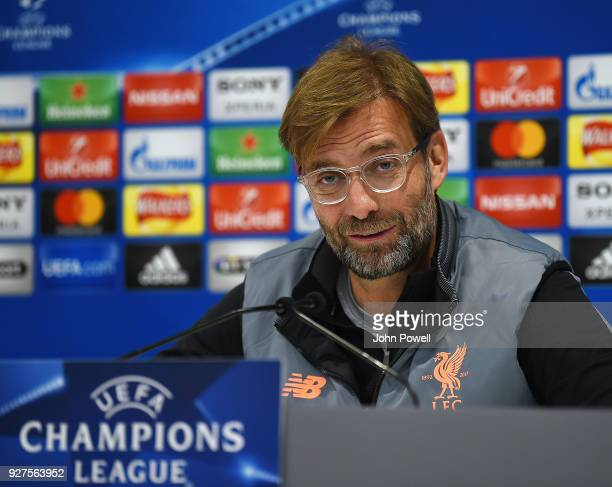 Jurgen Klopp manager of Liverpool during a press conference at Anfield on March 5 2018 in Liverpool England