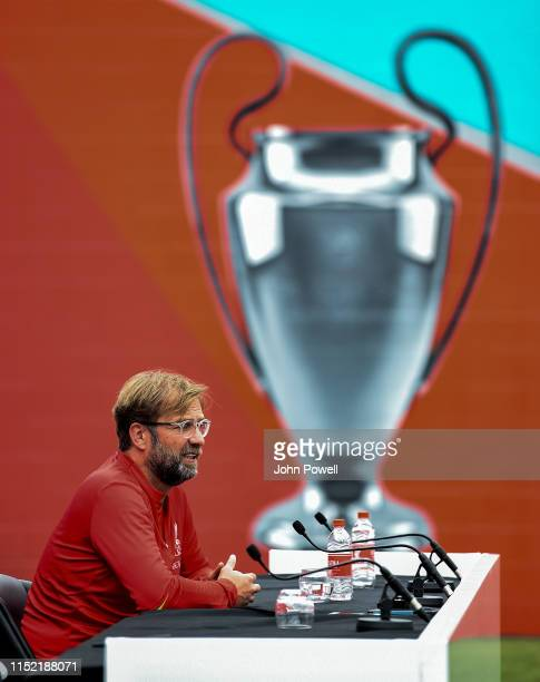 Jurgen Klopp manager of Liverpool during a press conference at Melwood Training Ground on May 28, 2019 in Liverpool, England.