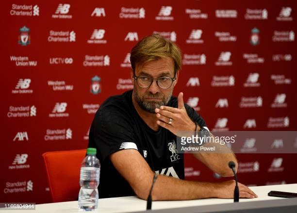 Jurgen Klopp manager of Liverpool during a press conference at Melwood Training Ground on August 08, 2019 in Liverpool, England.