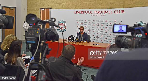 Jurgen Klopp manager of Liverpool during a Press Conference at Melwood Training Ground on January 15 2016 in Liverpool England