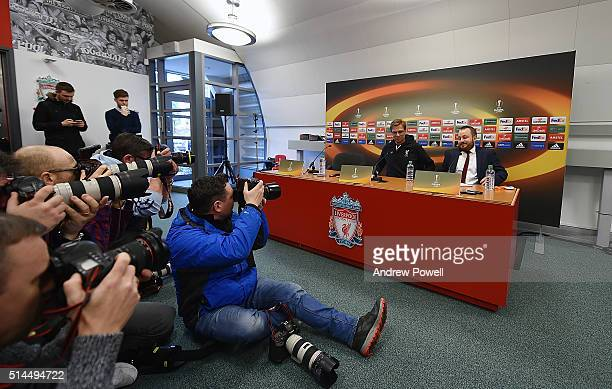 Jurgen Klopp manager of Liverpool during a Press Conference at Melwood Training Ground on March 9 2016 in Liverpool United Kingdom