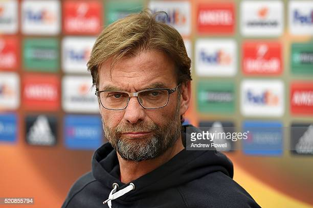 Jurgen Klopp manager of Liverpool during a press conference at Melwood Training Ground on April 13 2016 in Liverpool England