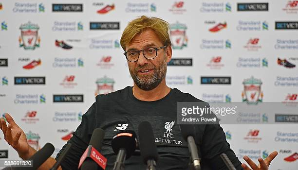 Jurgen Klopp manager of Liverpool during a Press Conference at Melwood Training Ground on August 12 2016 in Liverpool England