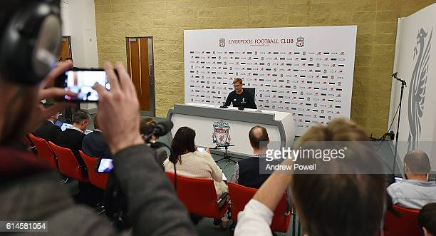 Jurgen Klopp manager of Liverpool during a Press Conference at Melwood Training Ground on October 14 2016 in Liverpool England