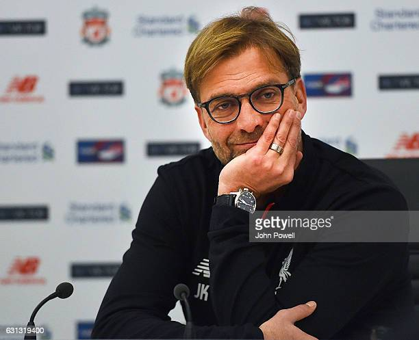 Jurgen Klopp manager of Liverpool during a press conference at Melwood Training Ground on January 9 2017 in Liverpool England