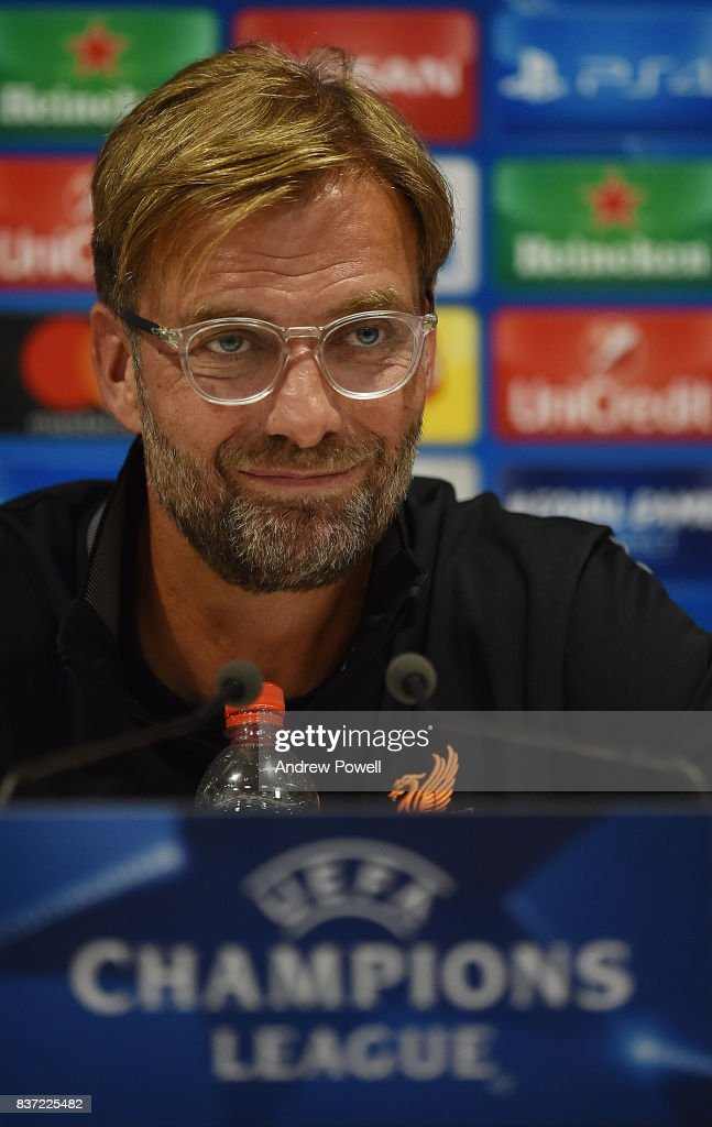 Jurgen Klopp manager of Liverpool during a press conference at Anfield on August 22, 2017 in Liverpool, England.