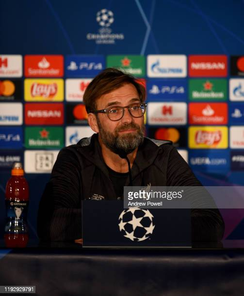 Jurgen Klopp manager of Liverpool during a press conference at Red Bull Arena on December 09, 2019 in Salzburg, Austria.