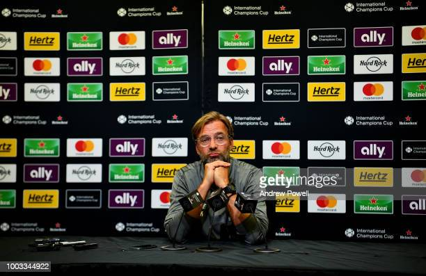 Jurgen Klopp manager of Liverpool during a press conference at the Bank of America Stadium on July 21 2018 in Charlotte North Carolina