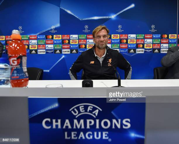 Jurgen Klopp manager of Liverpool during a press conference session at Melwood Training Ground on September 12 2017 in Liverpool United Kingdom