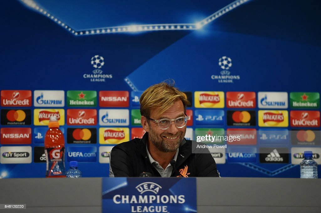 Jurgen Klopp manager of Liverpool during a press conference session at Melwood Training Ground on September 12, 2017 in Liverpool, United Kingdom.