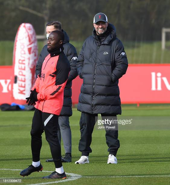 Jurgen Klopp manager of Liverpool during a training session at AXA Training Centre on April 13, 2021 in Kirkby, England.