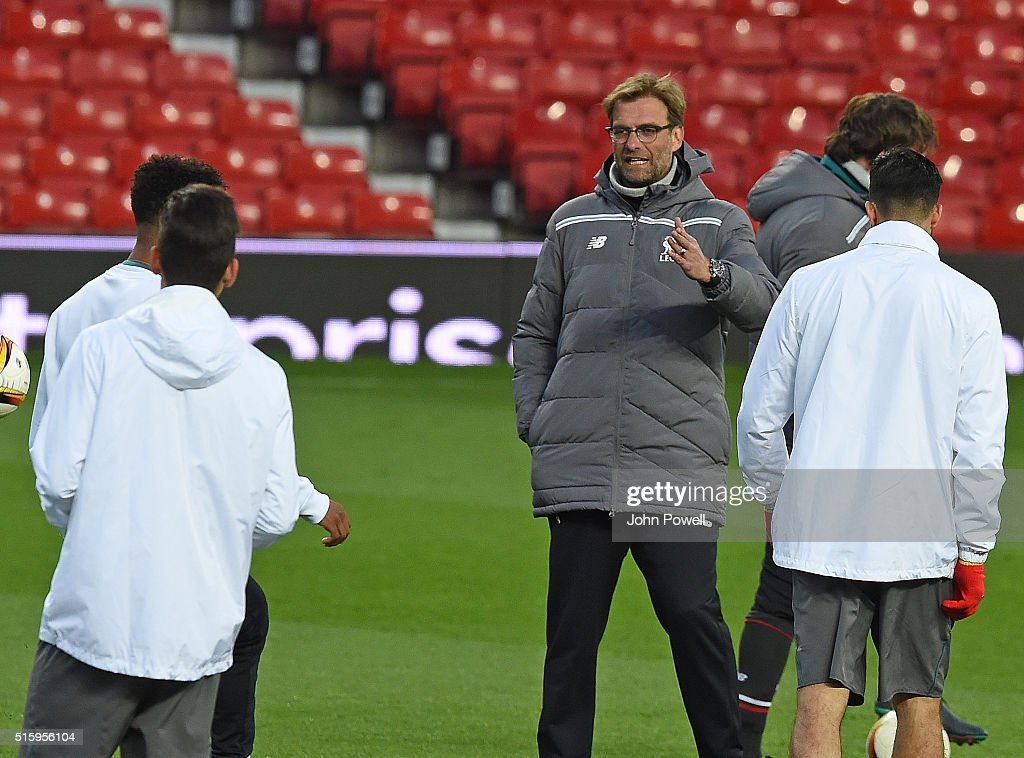 Jurgen Klopp Manager of Liverpool during a training session at Old Trafford on March 16, 2016 in Liverpool, United Kingdom.