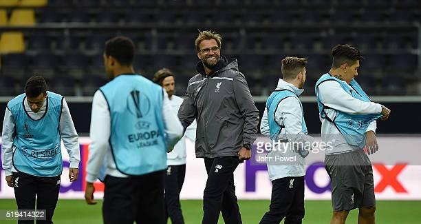Jurgen Klopp manager of Liverpool during a Training session at Westfalenstadion on April 6 2016 in Dortmund Germany