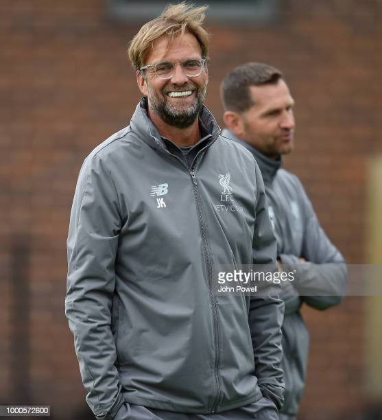 Nathaiel Clyne of Liverpool during a training session at Melwood Training Ground on July 17 2018 in Liverpool England