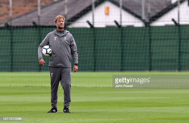 Jurgen Klopp manager of Liverpool during a training session at Melwood Training Ground on August 15, 2018 in Liverpool, England.