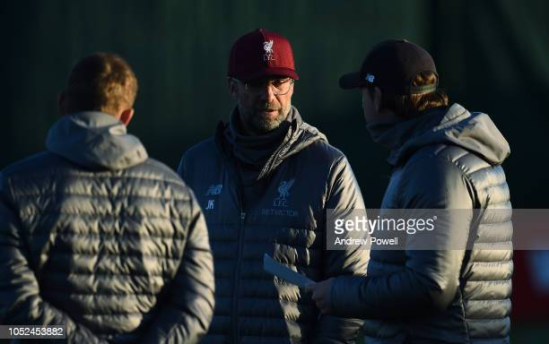 Jurgen Klopp manager of Liverpool during a training session at Melwood Training Ground on October 18 2018 in Liverpool England