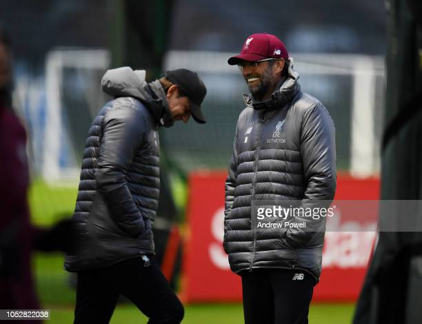 Jurgen Klopp manager of Liverpool during a training session at Melwood Training Ground on October 23 2018 in Liverpool England