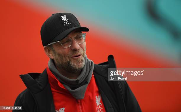 Jurgen Klopp manager of Liverpool during a training session at Melwood Training Ground on January 15 2019 in Liverpool England