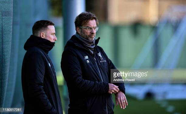 Jurgen Klopp manager of Liverpool during a training session at Melwood training ground on February 18 2019 in Liverpool England