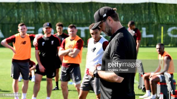 Jurgen Klopp manager of Liverpool during a training session at Marbella Football Centre on May 22 2019 in Marbella Spain