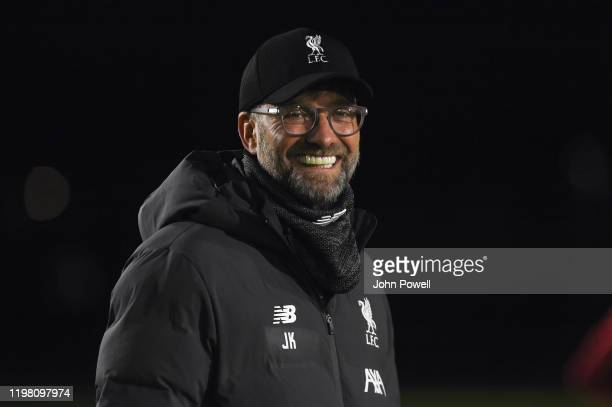 Jurgen Klopp manager of Liverpool during a training session at Melwood Training Ground on January 07 2020 in Liverpool England