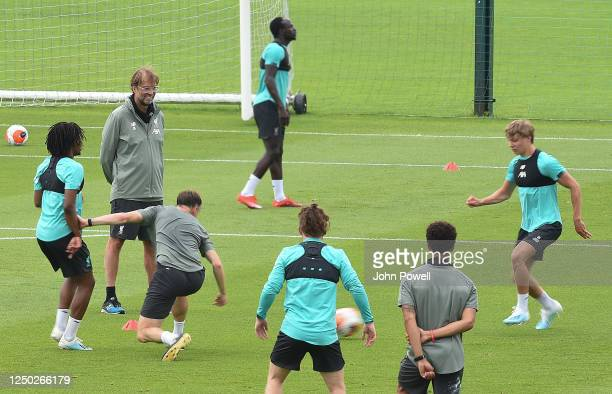 Jurgen Klopp manager of Liverpool during a training session at Melwood Training Ground on June 17 2020 in Liverpool England