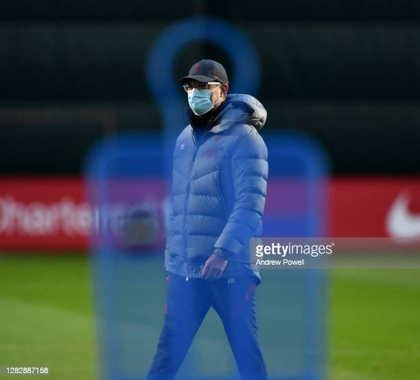 Jurgen Klopp manager of Liverpool during a training session at Melwood Training Ground on October 29 2020 in Liverpool England