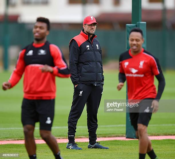 Jurgen Klopp manager of Liverpool during a training session at Melwood Training Ground on October 14 2015 in Liverpool England