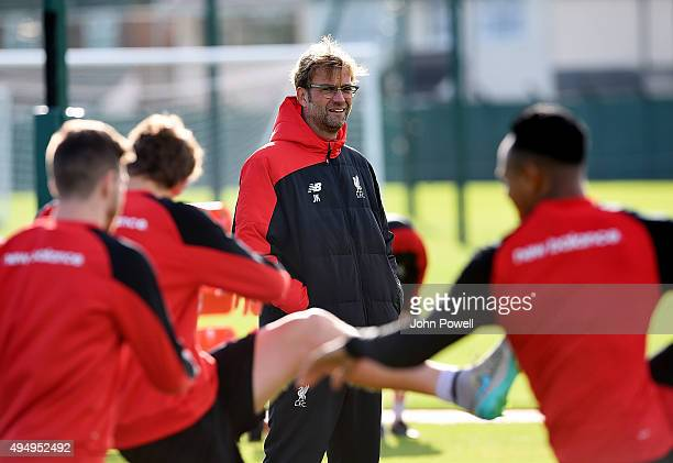 Jurgen Klopp manager of Liverpool during a training session at Melwood Training Ground on October 30 2015 in Liverpool England