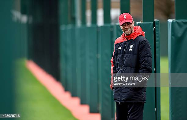 Jurgen Klopp manager of Liverpool during a training session at Melwood Training Ground on November 27 2015 in Liverpool England