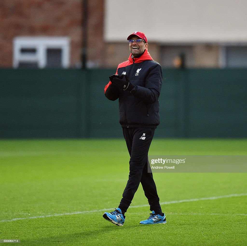 Jurgen Klopp manager of Liverpool during a training session at Melwood Training Ground on December 5, 2015 in Liverpool, England.