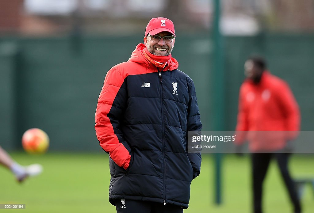 Jurgen Klopp manager of Liverpool during a training session at Melwood Training Ground on December 24, 2015 in Liverpool, England.