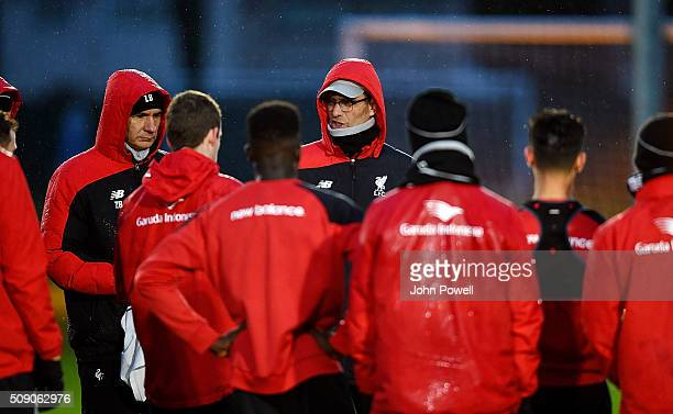 Jurgen Klopp manager of Liverpool during a training session at Melwood Training Ground on February 8 2016 in Liverpool England