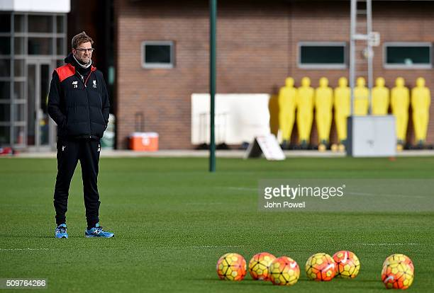 Jurgen Klopp manager of Liverpool during a training session at Melwood Training Ground on February 12 2016 in Liverpool England