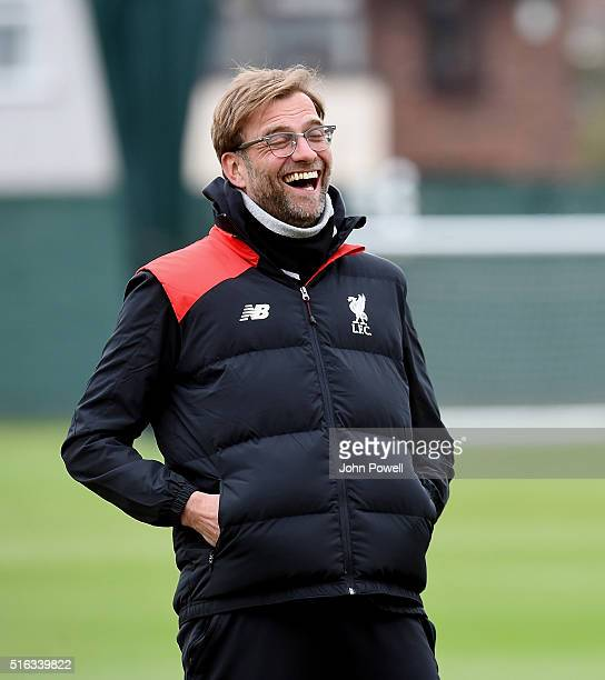 Jurgen Klopp manager of Liverpool during a training session at Melwood Training Ground on March 18 2016 in Liverpool England