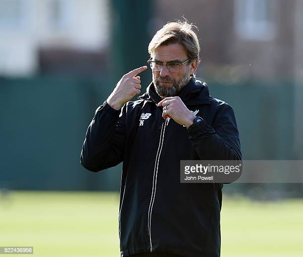 Jurgen Klopp manager of Liverpool during a training session at Melwood Training Ground on April 19 2016 in Liverpool England