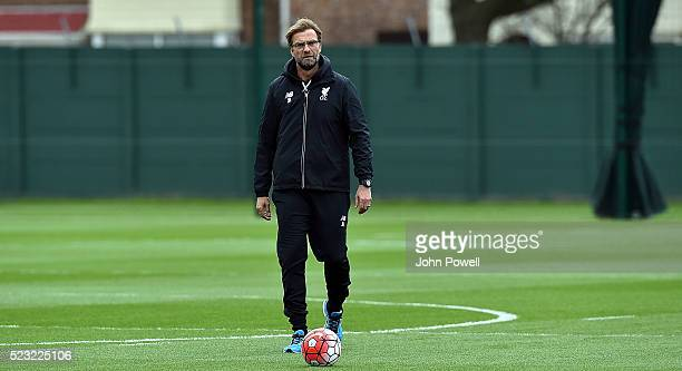 Jurgen Klopp manager of Liverpool during a training session at Melwood Training Ground on April 22 2016 in Liverpool England