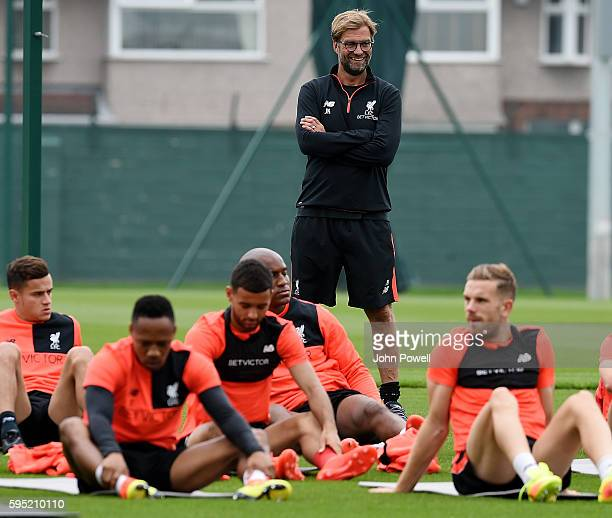 Jurgen Klopp manager of Liverpool during a training session at Melwood Training Ground on August 25 2016 in Liverpool England