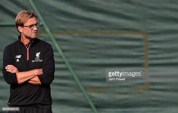 Jurgen Klopp manager of Liverpool during a training session at Melwood Training Ground on September 15 2016 in Liverpool England