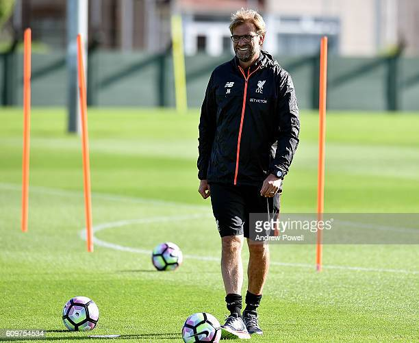Jurgen Klopp manager of Liverpool during a training session at Melwood Training Ground on September 22 2016 in Liverpool England
