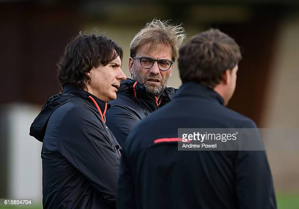 Jurgen Klopp manager of Liverpool during a training session at Melwood Training Ground on October 20 2016 in Liverpool England