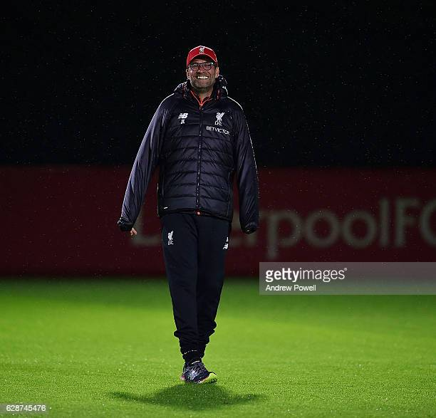 Jurgen Klopp manager of Liverpool during a training session at Melwood Training Ground on December 9 2016 in Liverpool England