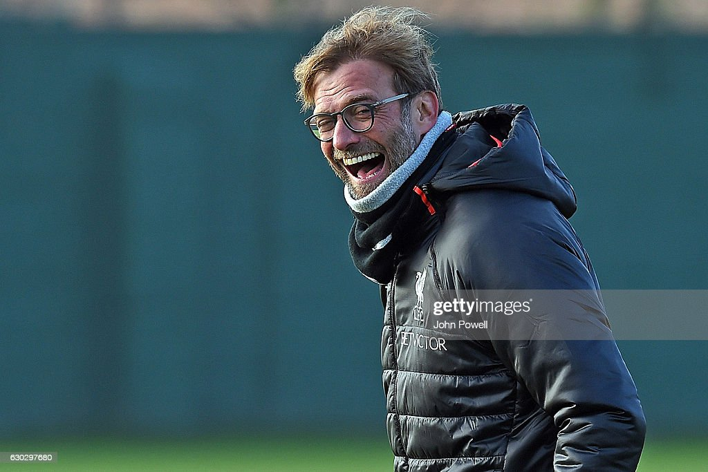 Jurgen Klopp manager of Liverpool during a training session at Melwood Training Ground on December 20, 2016 in Liverpool, England.
