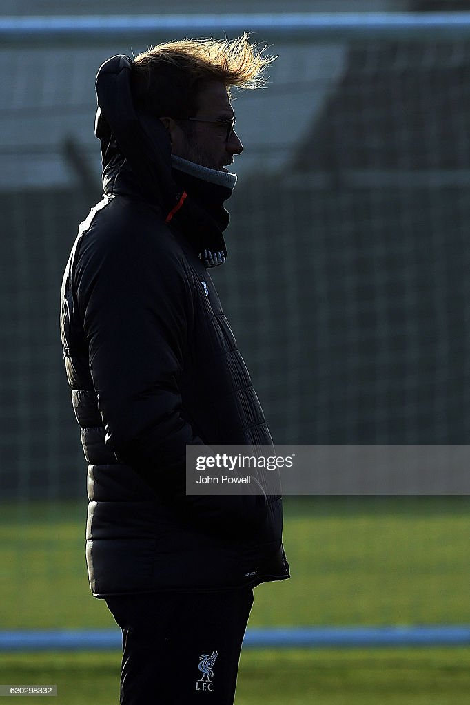 Jurgen Klopp manager of liverpool during a training session at Melwood Training Ground on December 2, 2016 in Liverpool, England.