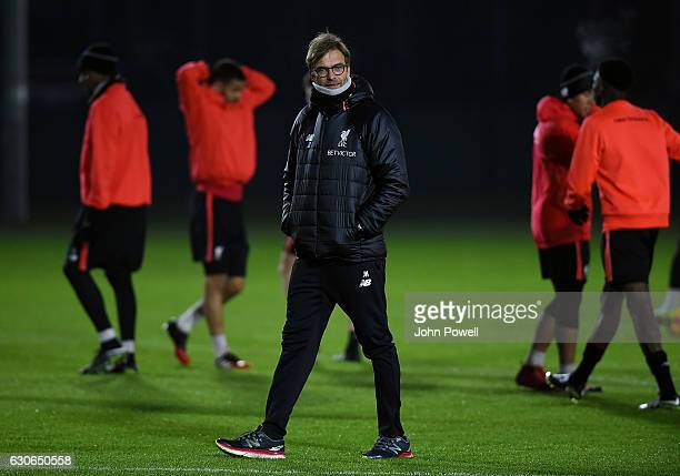 Jurgen Klopp manager of Liverpool during a training session at Melwood Training Ground on December 29 2016 in Liverpool England
