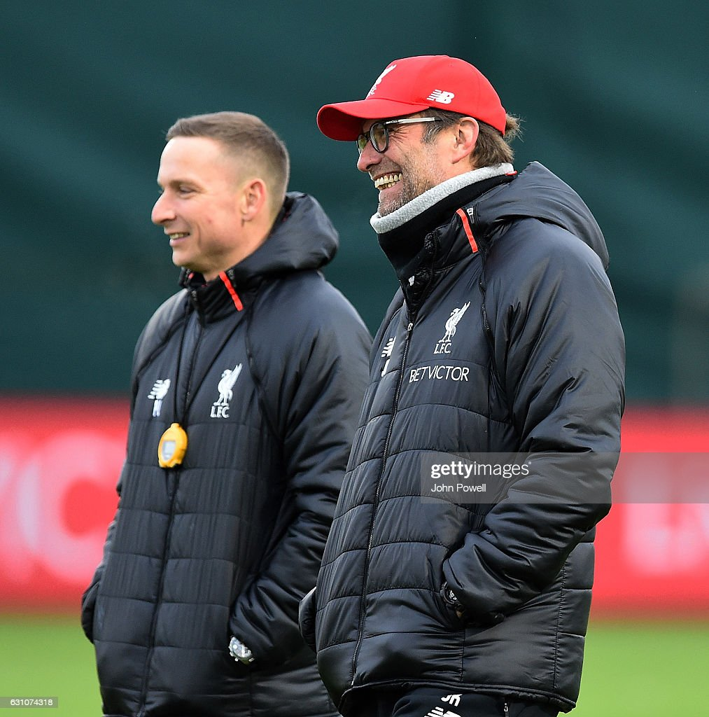 Jurgen Klopp manager of Liverpool during a training session at Melwood Training Ground on January 6, 2017 in Liverpool, England.