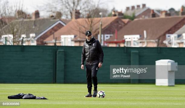 Jurgen Klopp manager of Liverpool during a training session at Melwood Training Ground on March 7 2017 in Liverpool England